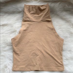 Nude turtle neck crop top